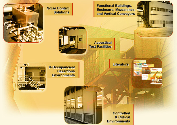 Noise Control Solutions, Functional Buildings, Enclosure, Mezzanines and Vertical Conveyors, Acoustical Test Facilities, H-Occupancies Hazardous Environments, Literature, Controlled & Critical Environments